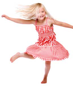 young girl dancing with abandon