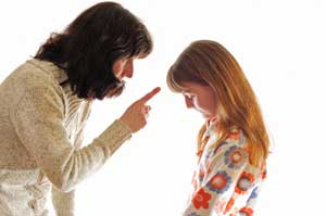 Using tone of voice when scolding a child